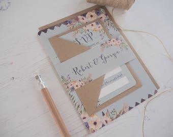 Floral Bleu Wedding Invitation with matching RSVP - SAMPLE