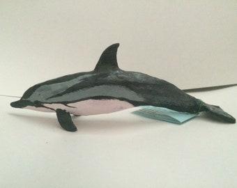 Striped dolphin figurine handmade cetacean sculpture