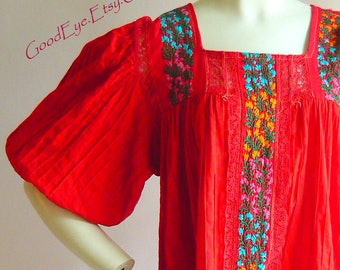 Vintage Floral Embroidered Mexican Dress / Size 10 12 14 Medium / PINTUCK Red Cotton Smock Sheer Yoke Puffy Sleeves / Boho Resort