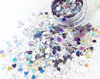 Silver Hearts Mix Glitters For Face & Body | Festival And Party Chunky Glitter Gems | Beauty Makeup Unicorn Birthday | Mermaid Face Jewels