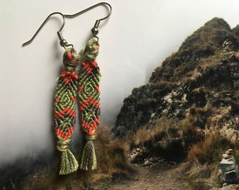 Tri-color friendship bracelet earrings