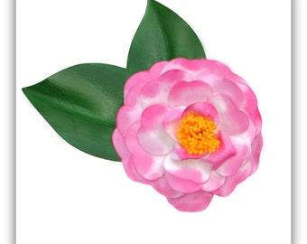 Camellia Japonica Variegated Pink Brooch