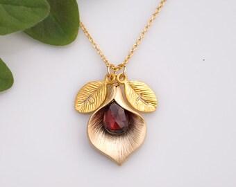 January Garnet Personalized Birthstone Necklace - Custom Initial Jewelry  - Personalized necklace - Calla Lilly Necklac
