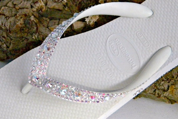 Wedding Flip Flops Custom Havaianas Glass Slippers w/ Swarovski Crystal AB gemstones Beach Bridal Full Moon Iridescent Low Wedge Bling Shoes