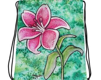 Pink Lily - Drawstring bag