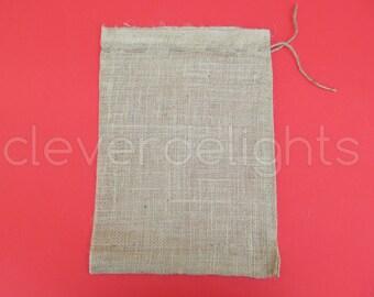 "20 - 10x14 Large Burlap Bags - Natural Rustic Burlap Bags with Natural Jute Drawstring for Showers Weddings Parties Receptions - 10"" x 14"""