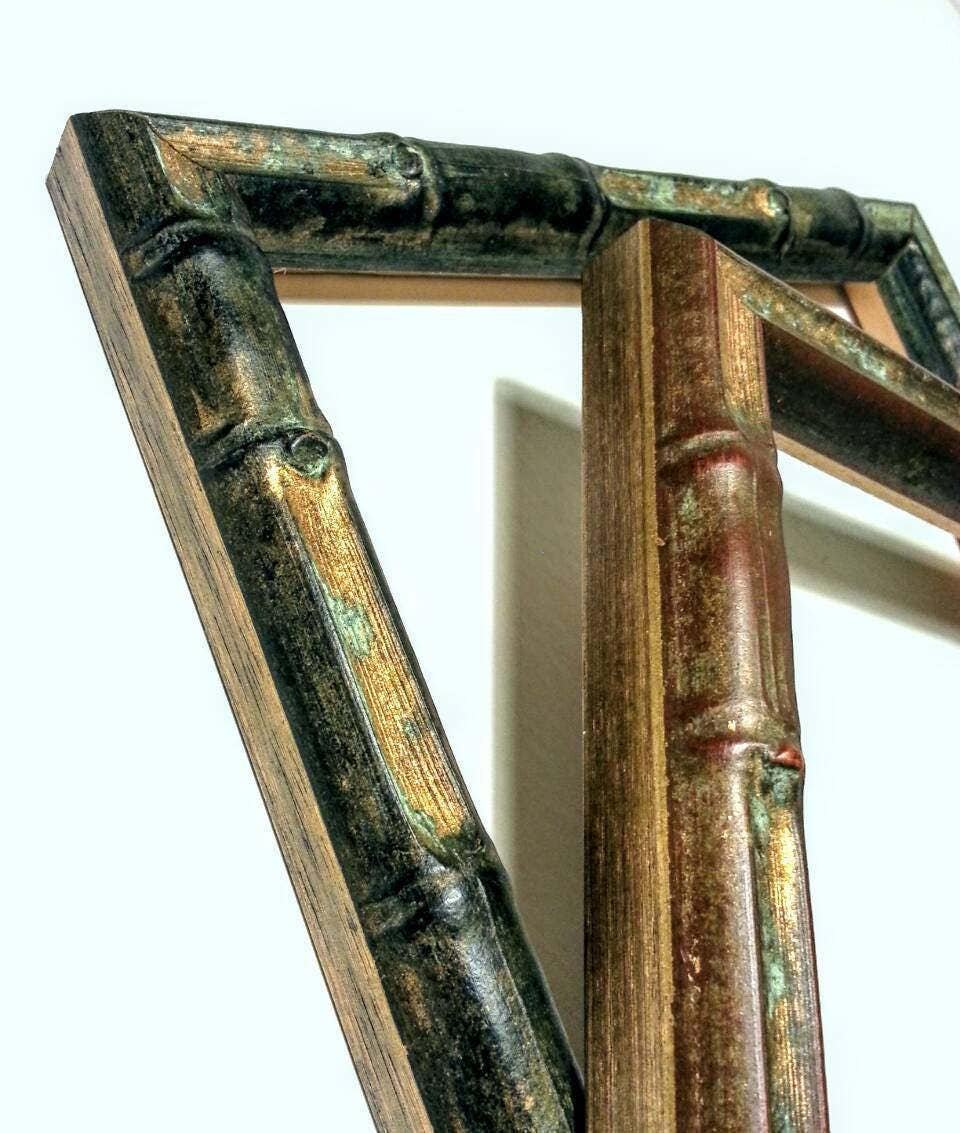 Bamboo picture frames verdigris black gold or copper gold wood 1900 jeuxipadfo Gallery