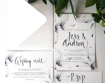 Magnolia Blooms/Pencil Drawn Magnolia/Invitation/Rsvp/Wishing Well