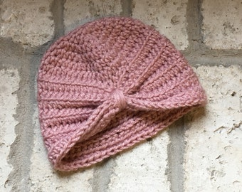 Baby Turban, crocheted, rose pink colored
