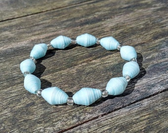 Handmade bracelet with cloudy blue recycled paper and silver glass beads