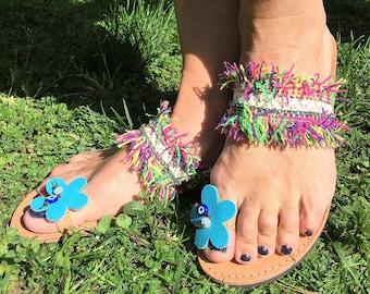 Greek Sandals,  Bohemian Sandals, Leather,  Egst, Boho sandals, Hippie sandals, Evil Eye, Summer shoes, Barefoot sandals, Made in Greece