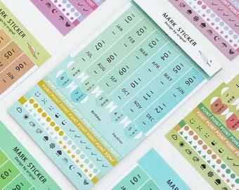 Index sticker, monthly sticker, weekly sticker, 8 sheets, weather sticker, point sticker,mark sticker, cute bookmark, Index Tabs, Kawaii