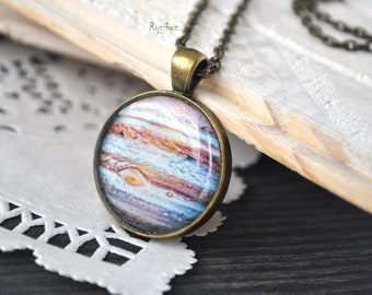 Jupiter planet pendant - Jupiter necklace pendant, space jewelry, planet jewelry, long chain brass, astronomy galaxy jewelry - ready to ship