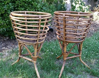 Pair Vintage Bamboo & Rattan Plant Stands