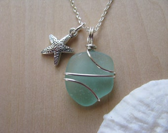 Real Sea Glass Necklace Aqua Green Sea Glass Jewelry Sea foam Beach Glass Beach Glass Necklace