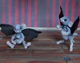 Rats disguised as bats, a creepy cute A6 postcard