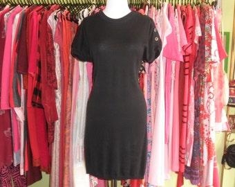 90s black knit cotton sweatshirt sweater dress 1990s minimalist classic simple little black Tshirt sack bubble office dress size small