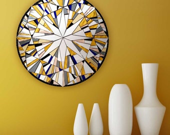 "Yellow Wall Decor, Round Wall Art, Modern Yellow Decor, Abstract Art, Wall Mirrorr ""Forever Sunrise"" **MADE TO ORDER – 40cm"