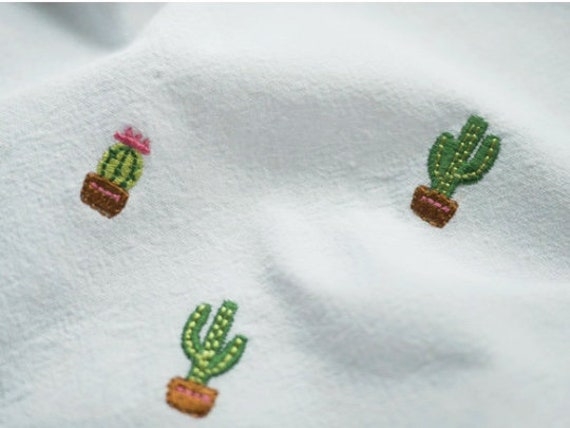 Embroidered Fabric Cactus Embroidery Cotton 100 Fabric By