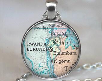 Burundi, Rwanda map pendant, Burundi map pendant Rwanda map necklace Burundi Rwanda map jewelry adoption jewelry key chain key ring key fob