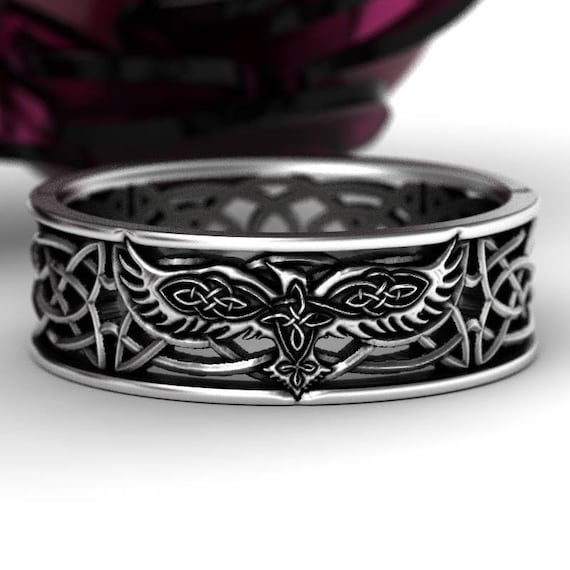 Celtic Raven Silver Ring, Raven Wedding Band, Womens Bird Wedding Band, Irish Wedding, Raven Jewelry, Celtic Knot Ring, Custom Size 1183