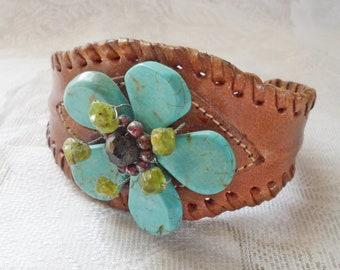 Vintage BOHO Turquoise & Laced Leather CUFF BRACELET