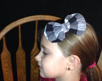 Black and White Checkered Bow, Checkard Bow, Fabric Hairbow