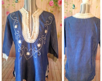 Vintage 100% Cotton Blue and White Tunic