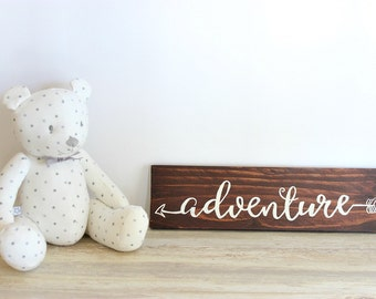 Rustic Nursery Decor, Adventure Wood Sign, Tribal Nursery Decor, Rustic Home Decor, Rustic sign, Reclaimed wood wall art, Gift for Traveller