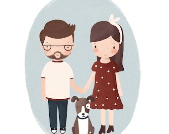 Custom Family Portrait/Family Portrait Custom/Family Portrait/Custom Portrait/Family Portrait illustration/Custom Couple Portrait/Hipster