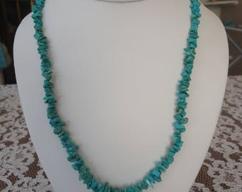 """Vintage Southwestern Turquoise Necklace w/ Sterling Clasp, 20"""""""