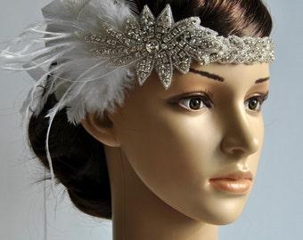 1920's rhinestone flapper headband, Bridal Head Piece, 1920's Flapper, Great Gatsby, rhinestones Crystal ribbon Headband, wedding Headband