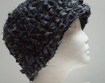 "dark denim hat blue hat denim cap blue jean scrap hat crocheted hat handmade hat upcycled fabric hat ""Americano"""