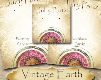 VINTAGE EARTH Series 4•Custom Tags•Labels•Earring Display•Clothing Tags•Custom •Boutique Card•Tags•Custom Tags•Custom Labels