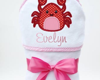 Baby Bath Towel, Hooded Bath Towel, Personalized Baby Towel, Monogrammed Baby, Crab Baby, Toddler Beach Towel, Baby Girl, Toddler Girl