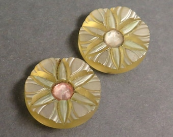 Vintage Pair of Chunky Celluloid Buttons - Carved, Paste Centers, Opalescent Finish