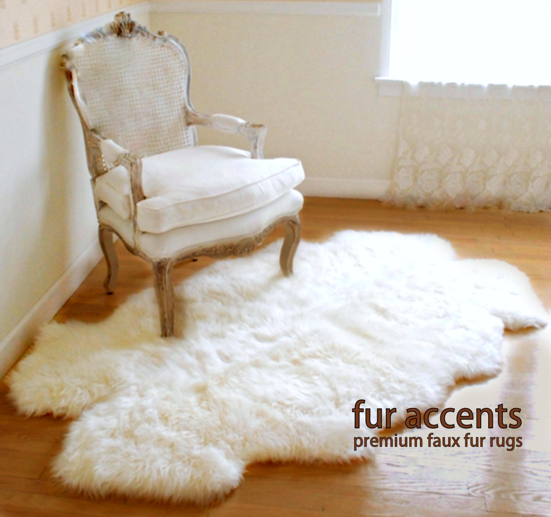 Fur Accents / Quattro Area Carpet Throw Rug / Plush Sheepskin