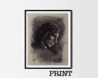 """11.69"""" x 16.53"""" print of Kylo Ren in charcoal on grey card"""
