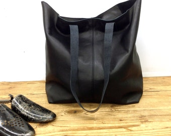 Sale!!! Black leather bag Tote bag soft leather tote bag Large tote Shopper Leather messenger Tote bag lightweight tote Crossbody options