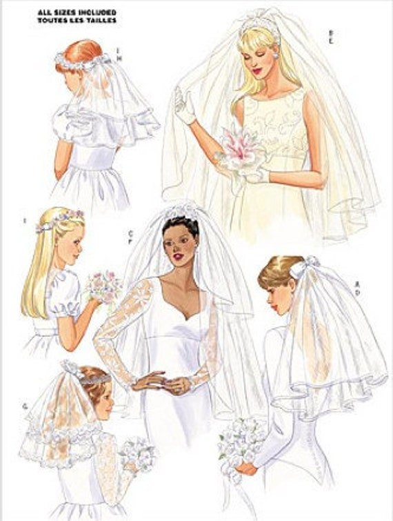 WEDDING VEIL Sewing Pattern - Bride & Flower Girl Veils Headpiece ...