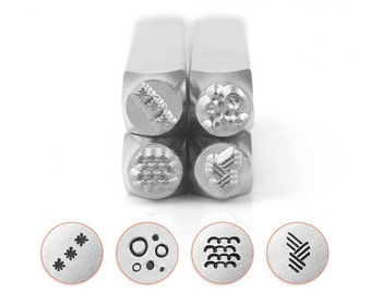 TEXTURE 5 ImpressArt Metal Stamp Pack Texturing Stamps Impress Art Stamping Set Includes Stars, Circle and Dot, Curves, Vertical Angled Line