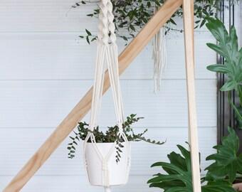 Macrame Plant Hanger // Natural Cotton // Hanging Plants // Boho Decor // Natural Cotton // Medium // 'Single Twist'