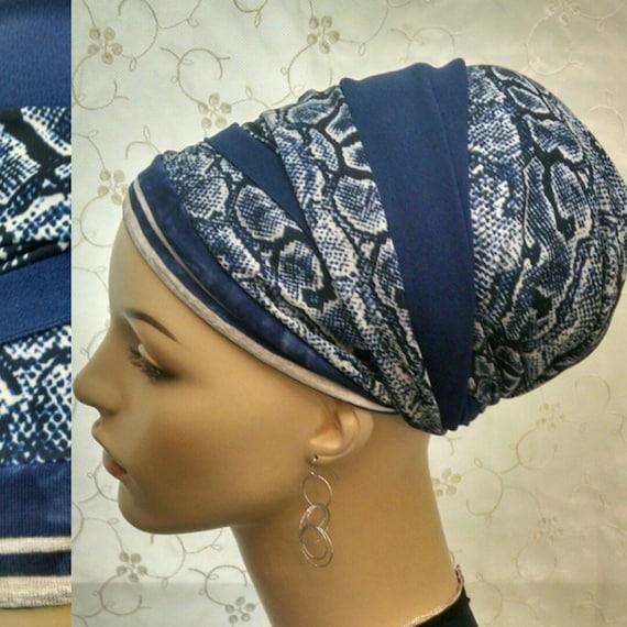 Lightweight cobalt blue snakeprint sinar tichel, tichels, head scarf, chemo scarves, apopecia scarf, head wrap, head covering,hair  snood
