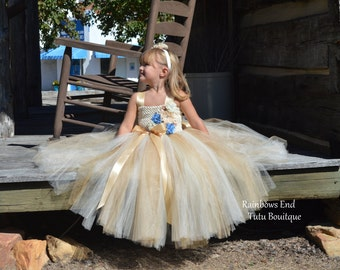 Vintage Charm -Gold & Ivory Couture Flower Girl  Tutu Dress  SIZES 12M - girls 7
