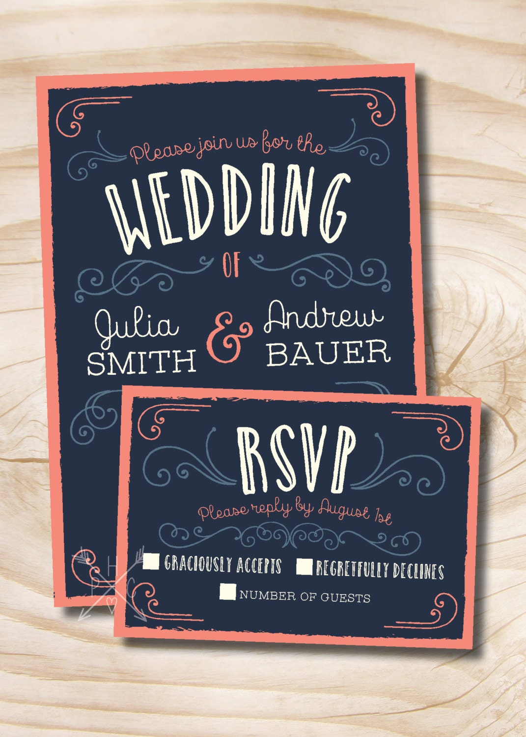 Coral Wedding Invitations: Navy And Coral Vintage Scroll Poster Style Rustic Wedding