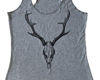 Deer Skull Tank Top - Tri-Blend Tank - Available in sizes S, M, L