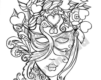 Lady in a Mask, mardi Gras themed, Coloring Page