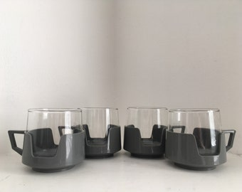 4 Grey Vintage JAJ Pyrex Drink Up Cups