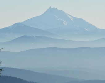 The majestic view of Mt Jefferson from the world famous Timberline Lodge on Mt Hood here in Oregon.