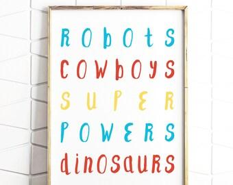 boy room decor, boy wall decor, boy wall print, printable boy gift, subway style art, typography boys room, boys word art, digital art